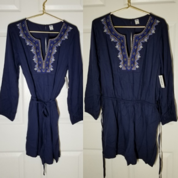 56f6b36a7ed OLD NAVY Womens Embroiderd Romper Boho Chic Sz L